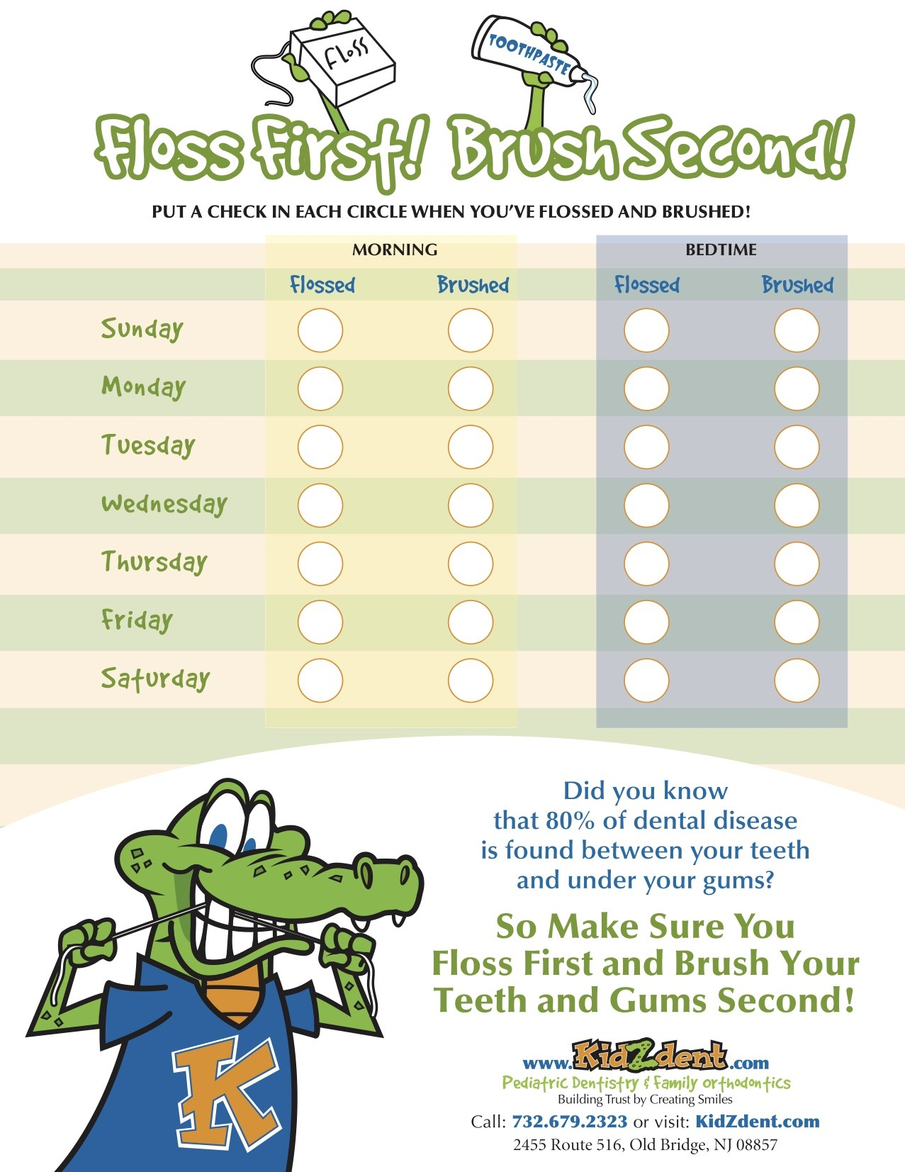KidzDent Flossing and Brushing Checklist Flyer