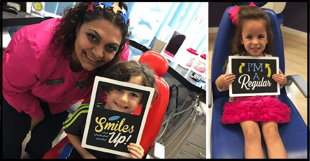 Dr. Reem Hemantharaju with her pediatric patients smiling