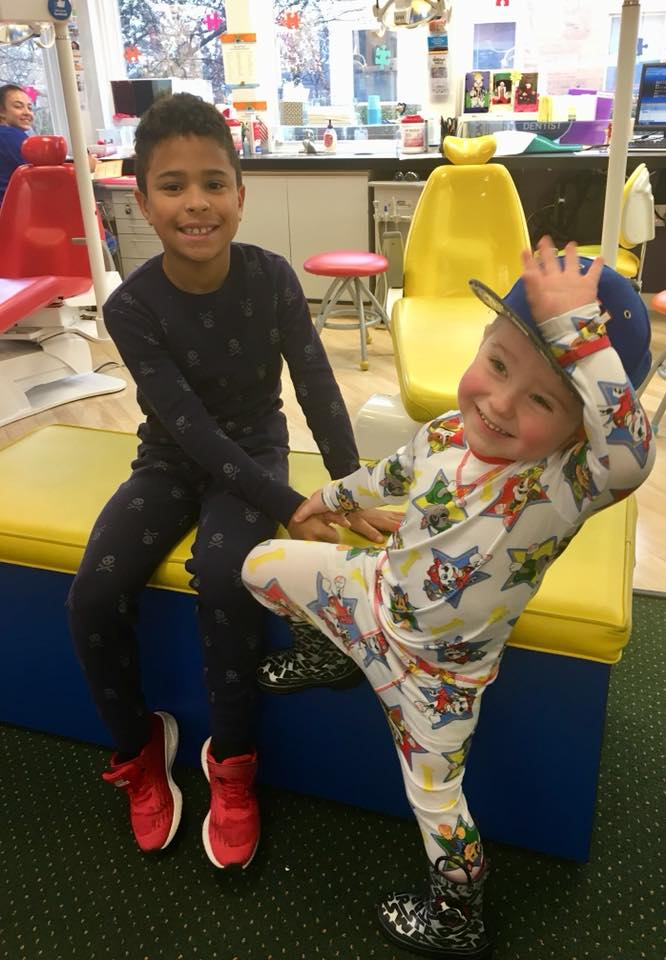 Two pediatric patients play around in our Kidzdent dental office